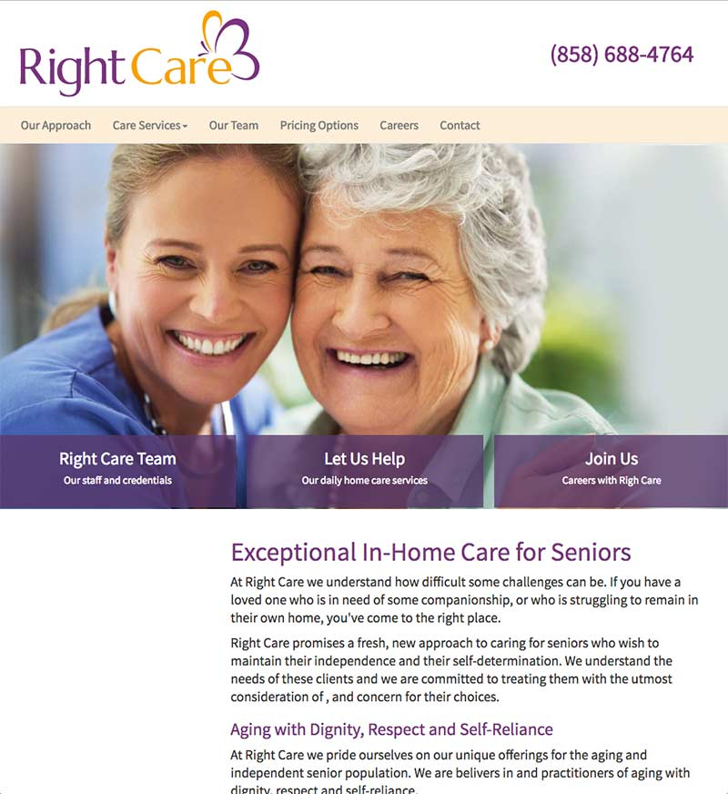 custom website design | Right Care | In home care for seniors